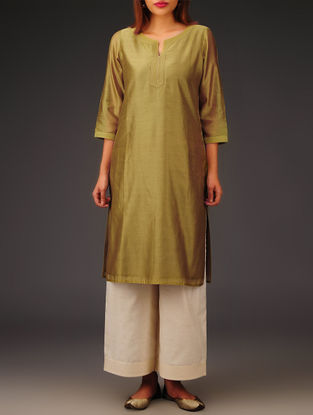 Olive Chanderi Zari Stitch Detailed Kurta