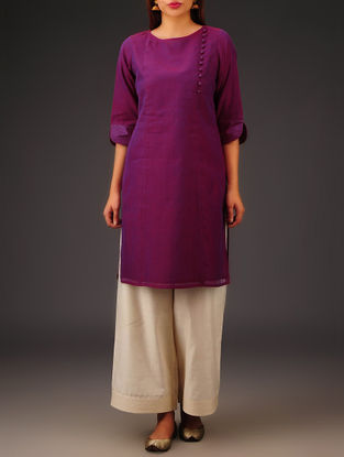 Purple Chanderi Button Detailed Kurta