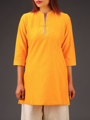 Yellow Chanderi Zari Stitch Detailed Tunic