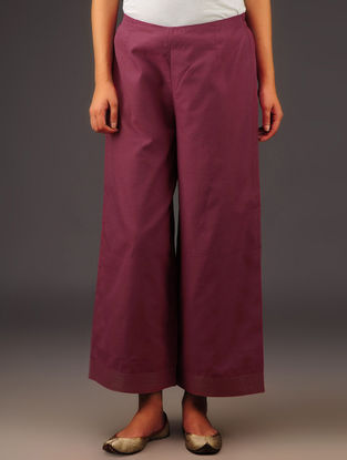 Maroon Chanderi Zari Stitch Detailed Elasticated Waist Palazzos