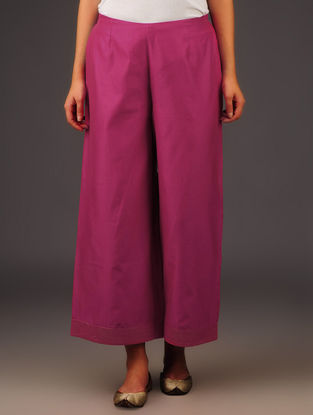 Fuschia Chanderi Zari Stitch Detailed Elasticated Waist Palazzos