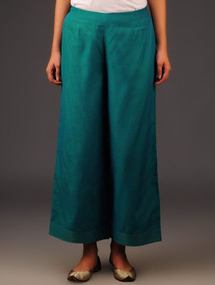 Teal Chanderi Zari Stitch Detailed Elasticated Waist Palazzos