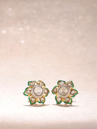 Green Enameled Diamond Polki Gold Earrings