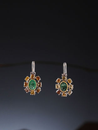 Emerald and Multicolored Diamond Gold Earrings