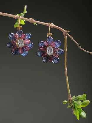 Ruby and Blue Sapphire Polki Diamond Gold Earrings