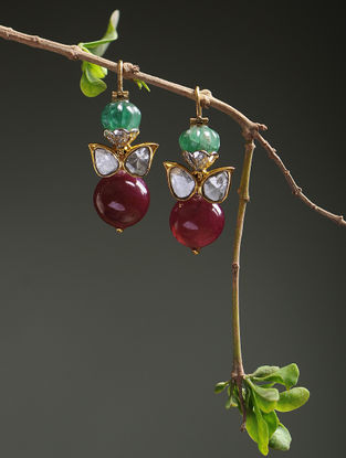 Emerald and Ruby Polki Diamond Gold Earrings