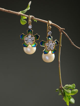 Green-Blue Enameled Diamond Gold Earrings