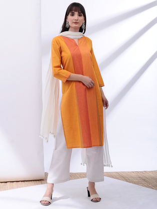 Yellow-Orange Cotton Kurta