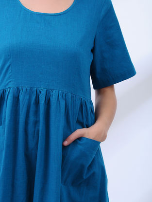 Blue Cotton Dress with Pockets