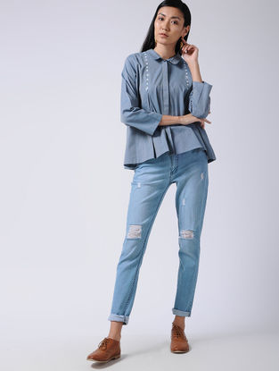 Blue Embroidered Cotton Shirt with Box Pleats