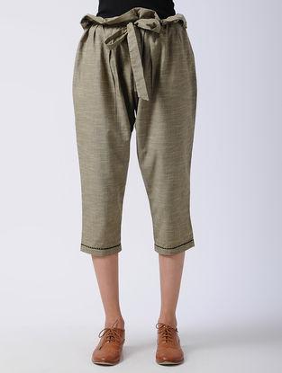 Brown Tie-up Waist Cotton Pants