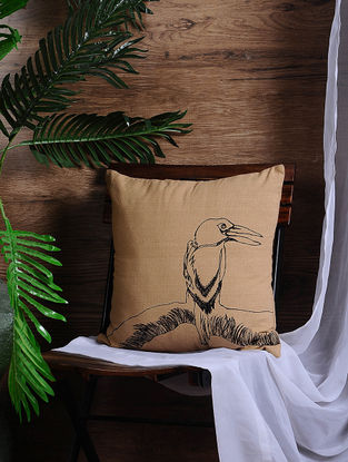 Beige Embroidered Cotton Cushion Cover (16in x 16in)