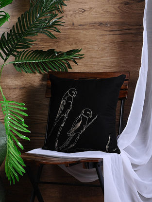 Black Embroidered Cotton Cushion Cover (15.5in x 15.5in)