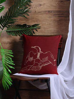 Red Embroidered Cotton Cushion Cover (15.5in x 15.5in)