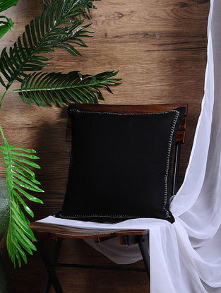 Black Cotton Cushion Cover (15.5in x 15.5in)