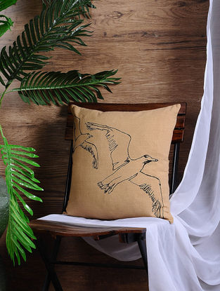Beige Embroidered Cotton Cushion Cover (15.5in x 15.5in)