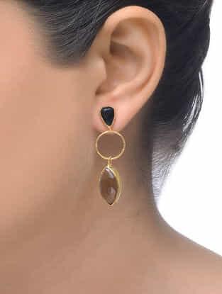 Smoky- Black Gold Tone Earrings