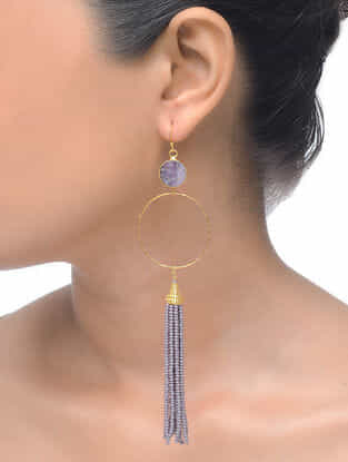 Amethyst Gold Tone Beaded Earrings