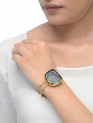 Labradorite Gold Tone Adjustable Cuff