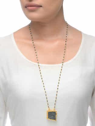 Labradorite Gold Tone Beaded Necklace