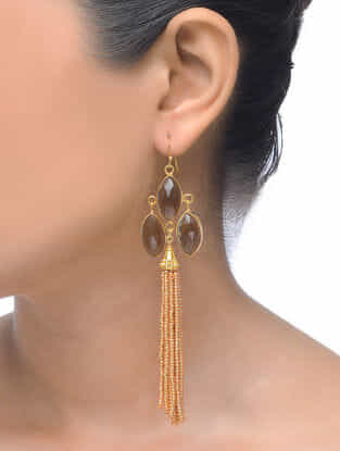 Smoky Gold Tone Earrings with Beaded Tassel