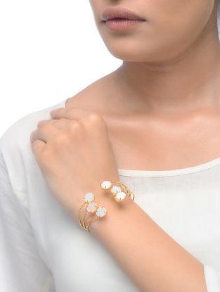 White Druzy Gold Tone Adjustable Cuff