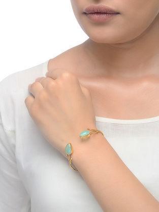 Blue Peruvian Gold Tone Adjustable Cuff