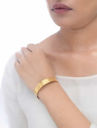 Engraved Gold Tone Adjustable Cuff