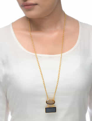 Smoky-Black Gold Tone Necklace