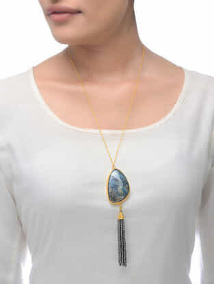 Labradorite Gold Tone Necklace with Beaded Tassel