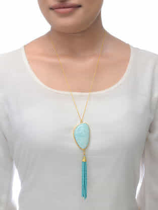 Blue Peruvian Gold Tone Necklace with Beaded Tassel