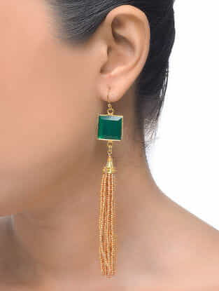 Green Gold Tone Earrings with Beaded Tassel