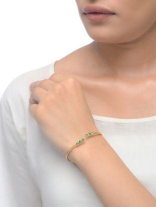 Green Gold Tone Adjustable Bangle