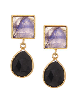 Grey-Black Gold Tone Earrings