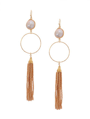 White Gold Tone Earrings with Beaded Tassel