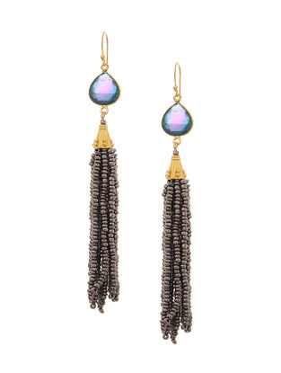 Blue Gold Tone Earrings with Beaded Tassel