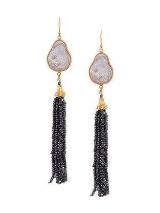 White Gold Tone Earrings with Beaded Tassel