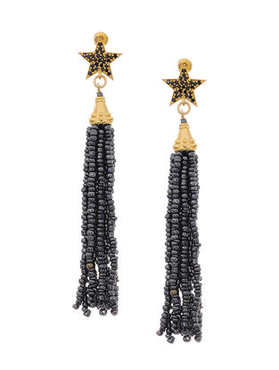 Black Gold Tone Earrings with Beaded Tassel