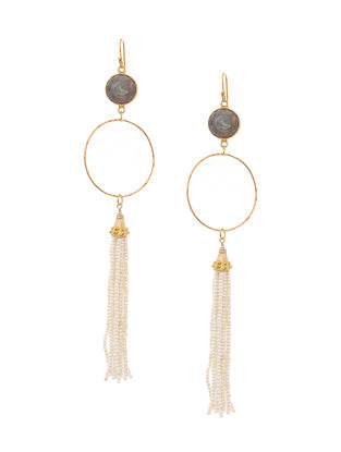 Grey Gold Tone Earrings with Beaded Tassel