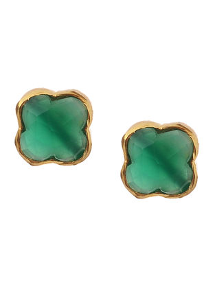 Green Gold Tone Earrings