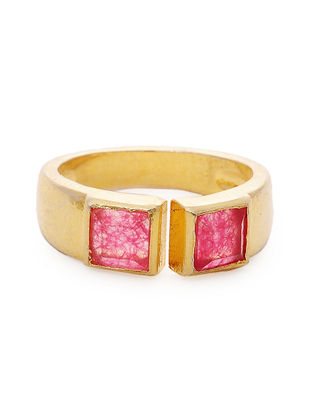 Red Gold Tone Adjustable Ring