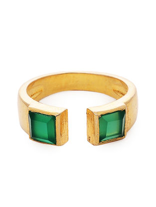 Green Gold Tone Adjustable Ring