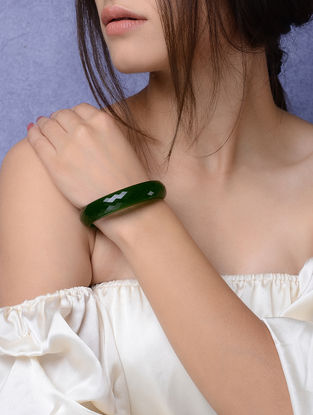 Green Glass Crystal Bangles -Size 2/6