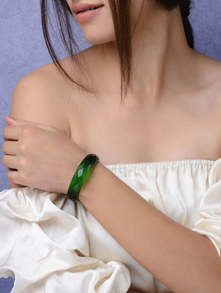 Green Glass Crystal Bangles -Size 2/4