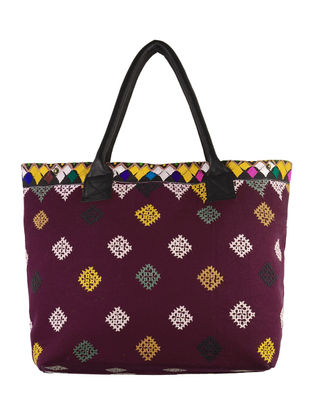 Maroon, Multi-Color Embroidered Banjara Tote Bag
