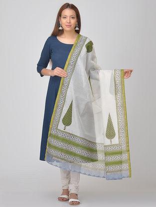 White-Green Block-printed Chanderi Dupatta with Zari Border