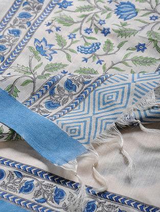 Ivory-Blue Block-printed Silk Dupatta