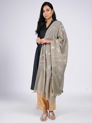 Beige Silver Leaf Khari-Printed Wool Shawl
