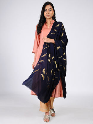 Blue Gold Leaf Khari-Printed Wool Shawl