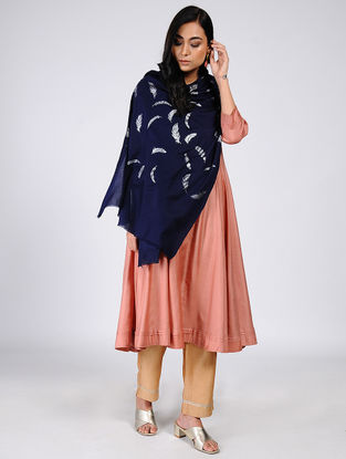Blue Silver Leaf Khari-Printed Wool Shawl